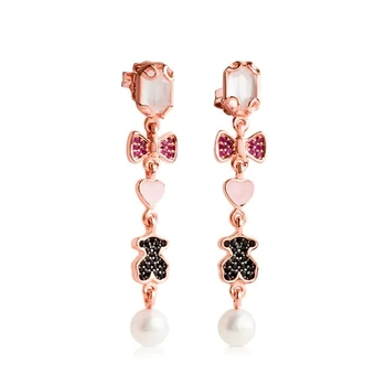 S925 sterling silver new Rose Vermeil Silver Join Earrings quartz spinel ruby rose gold earrings For female Touses Jewelry