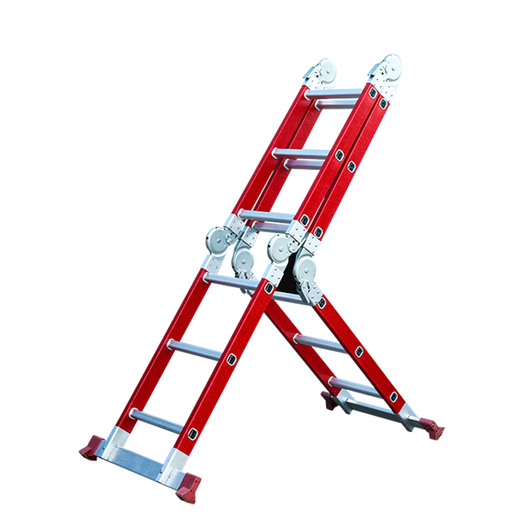 4x3 шага Горячая продажа многофункциональные вместительные сумки шарнир складной Стеклопластиковая лестница