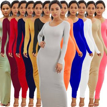 Women's Clothing Casual Cotton Fall Winter Solid Color Pencil Maxi Dress Long Sleeve Bodycon Elegant Ladies Long Party Dress