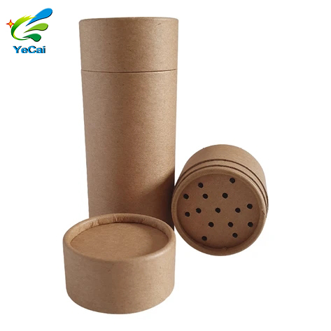 Biodegradable food brown kraft paper tube round packaging wax lined cardboard shaker tube for spice power