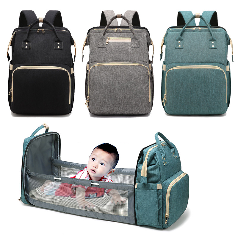 2021 New Portable Foldable Crib Mummy Bag Multi-Function Large Capacity Mummy Diaper Bags Outdoor Travel baby Bag Backpack