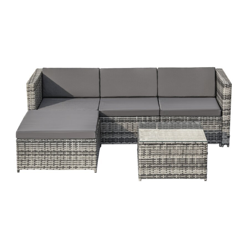 Оптовая продажа, современная уличная мебель, угловой алюминиевый ротанговый садовый диван