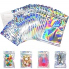 Packaging Pouch Food Flat Holographic Pouches Reclosable Flat Mylar Ziplock Bags Holographic Color Packaging Pouch For Daily Life Party Liquid And Solids Favor Food Storage