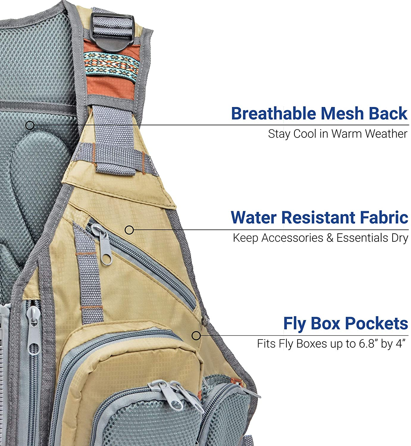 Fly Fishing Vest Backpack Outdoors Large Multiple Pockets Chest Pack Back Pack Fishing