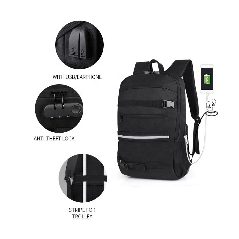 Горячая Распродажа Черный рюкзак для скейтборда рюкзак с держателем для скейтборда
