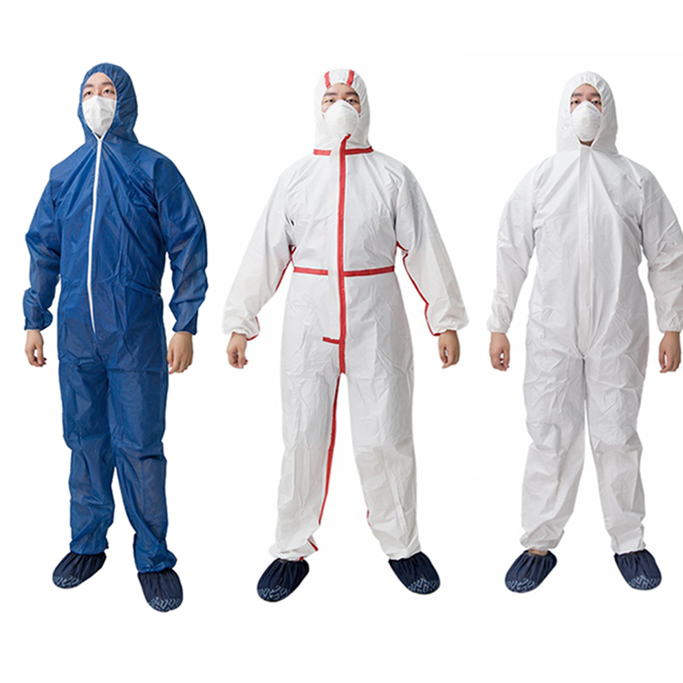 SMS Type4/5/6 White Coveralls Disposable With Hood With Melt Tape