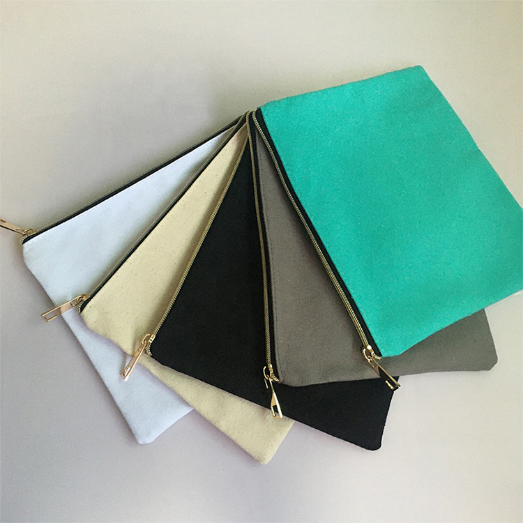 Eco Friendly Cotton Cosmetic Bags Blank Reusable Canvas Zipper Multicolour Makeup Pouch Bag