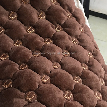 quilted embroidery car seat velvet fabric laminate with foam and nonwoven backing