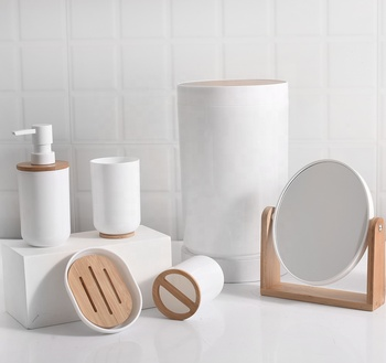 Eco-friendly Nature Bamboo 6 pieces Plastic bathroom accessories set