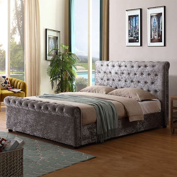 Hot new design Ottoman storage grey leather bed