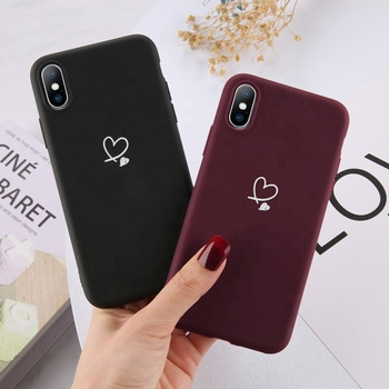 Colorful Love Heart Phone Case For apple iPhone 11 Pro X XR XS Max SE 2020 6 6S 7 8 Plus 5 SE Candy Color Soft TPU Back Cover
