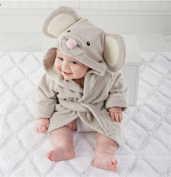 Wholesale 100% Organic Cotton Baby Towel With Hood Grey Elephant Embroidery Hooded Kids Bath Towels Bathrobe