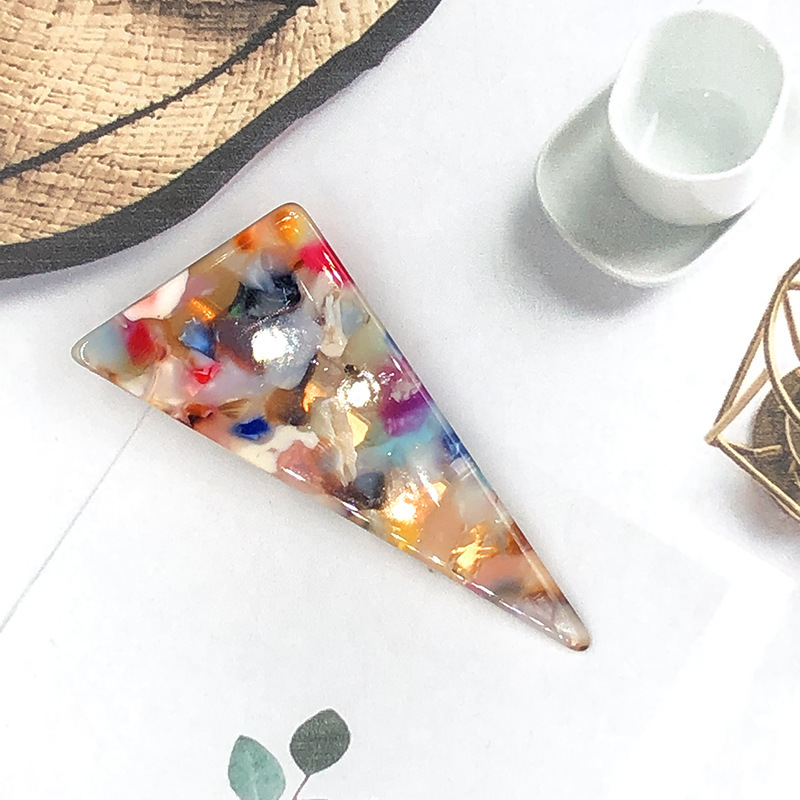 JUHU New fashion all-match hit color acrylic hairpin triangle shape acetate chain duckbill clip geometric bangs clip for women
