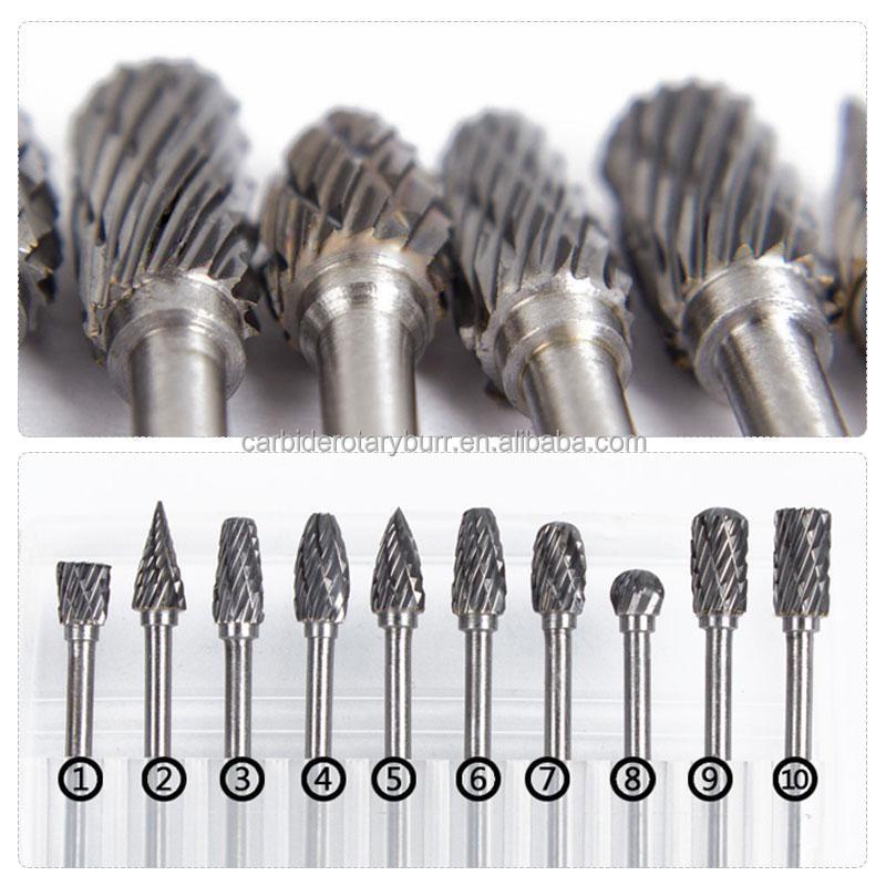 """Details about  /1//8/"""" Shank Tungsten Carbide Single Cut Head Burr Set 10Pcs NCZ"""