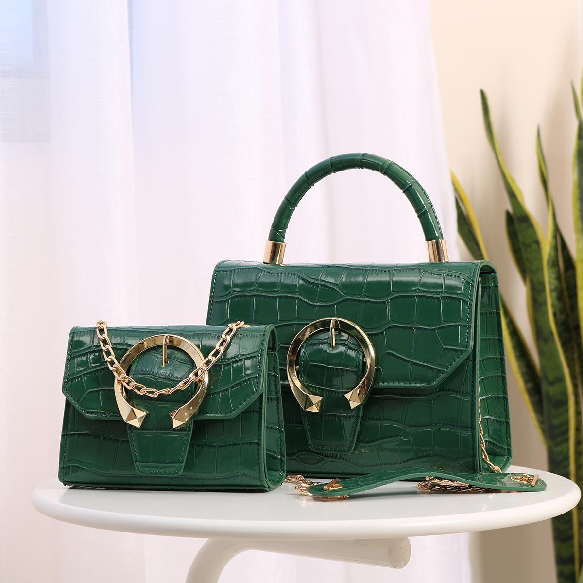 011 Luxury ladies pu leather tote bag crossbody shoulder handbags 2 in 1 set geometric bags women handbags