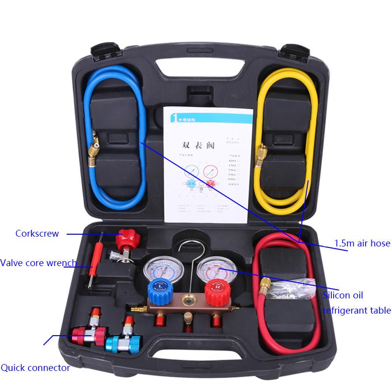 Датчик фтористого давления хладагента, двойной клапан, наборы инструментов для фтористого кондиционера, запчасти