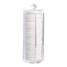 Cotton Pad Holder Hot Sales Acrylic Makeup Organizer Round Cosmetic Storage Cotton Pad Dispenser Container Holder With Lid