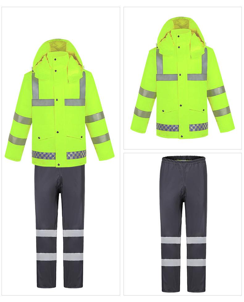 Прямая поставка с завода, высокое качество, недорогой уличный комплект из куртки и брюк с капюшоном, отражающий дождевик с разрезом для взрослых