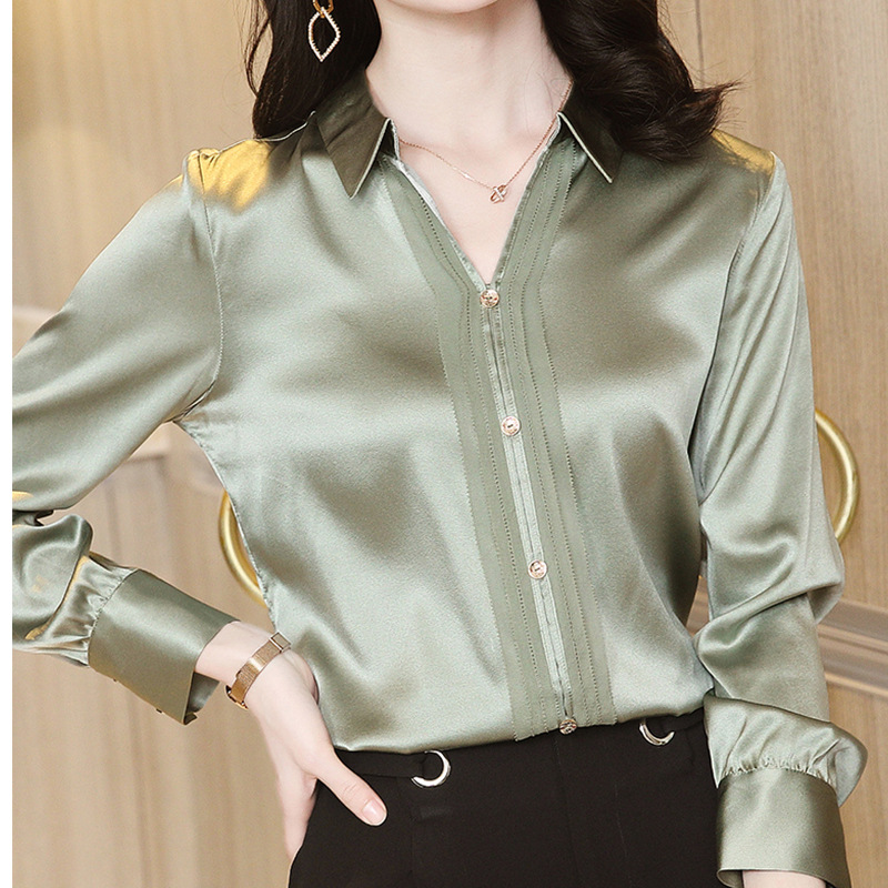 Толстая шелковая блузка для женщин, шелковая блузка с длинными рукавами для женщин, новинка весны 2021, Тонкая блузка из чистого атласа