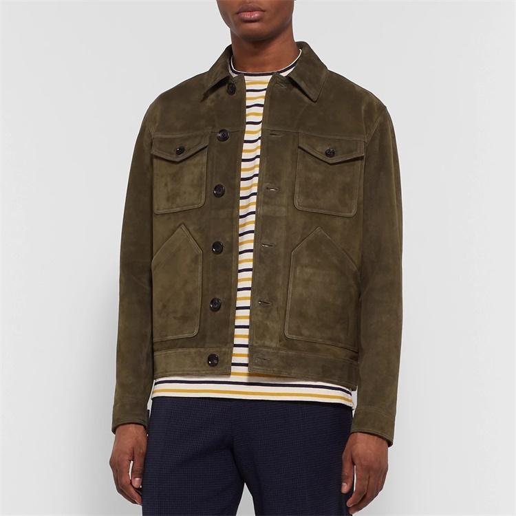 Custom 4 patchwork pockets softshell suede trucker jacket for men