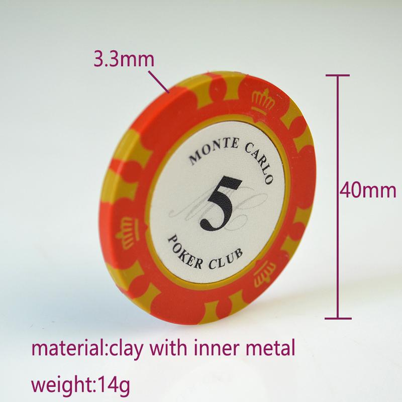 Factory Custom Design Monte Carlo Clay Poker Chips 14g