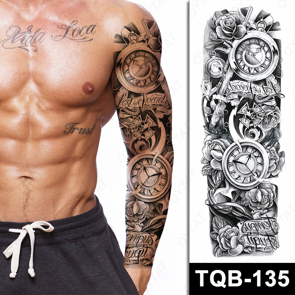 Waterproof Stock Tribal Designs Long Fake Temporary Tattoo Stickers For Men Arm