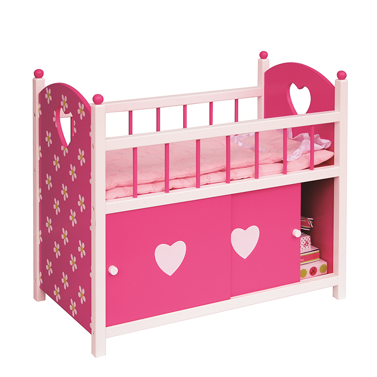 Doll's wooden Furniture High Bed designs indoor play toys With Storage Below