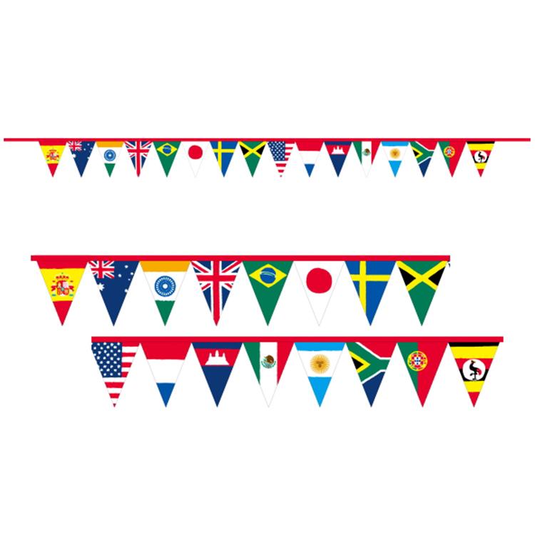Оптовая продажа, 100% полиэстер, ПВХ, индивидуальный однотонный флажок треугольной формы, индивидуальный дизайн для красочного бара и праздничного украшения
