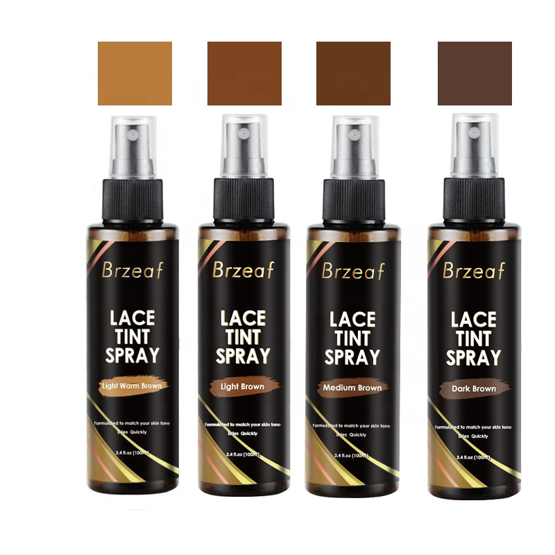 Private Label Hair Lace Tint Spray Light Medium Dark Brown Color for Wigs
