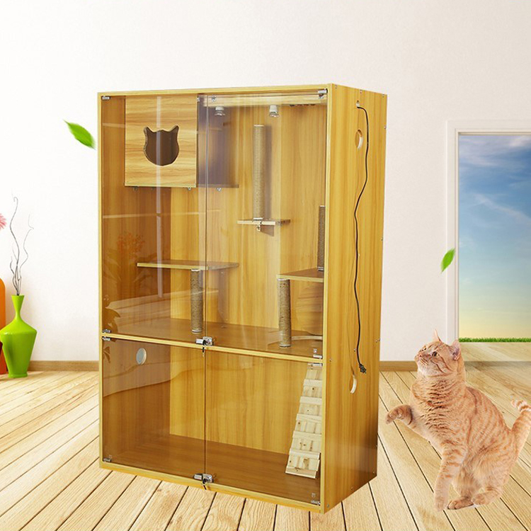 Custom Cat And Dog Large Cat House Villa Solid Wood Cage Hamster Delivery Room Single Double Layer Cat Indoor Luxury Cabinet Buy Pet House Wood Pet House Luxury Indoor Pet House Product On