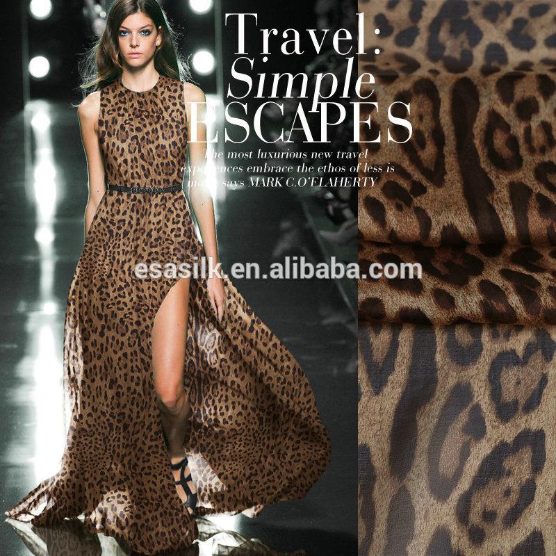 Оптовая продажа, шелковая шифоновая ткань с леопардовым принтом в наличии