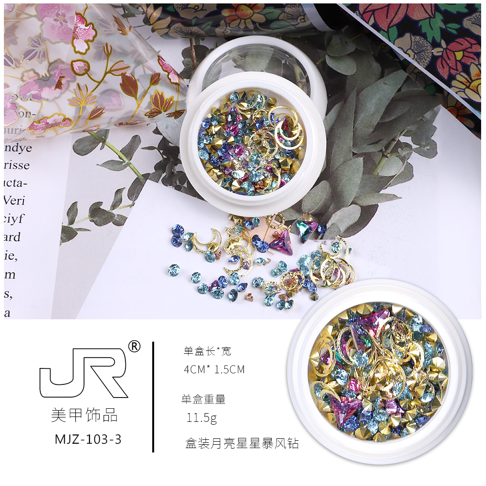 Colorful studs diamond crystals gold metal 3d nail designs art mixed accessories rhinestone nail designs