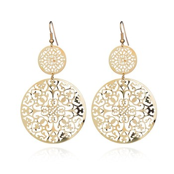 Fashion Brand Fashion Earrings Fashion retro hollow disc frosted Earrings palace ethnic style carved Earrings