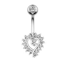 1 шт. хрустальное кольцо для пупка, модное кольцо из нержавеющей стали, креативное женское сердце для пупка, кольцо для пирсинга, ювелирное и...(Китай)