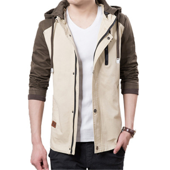 Hot Sale Slim Fit Cotton Bomber Jacket Men Custom High Quality Army Green Windproof Hooded Jacket