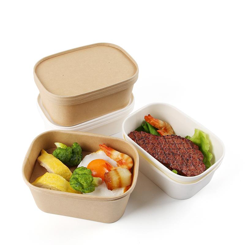 500 мл 650 мл 750 мл 1000 мл крафт пищевой контейнер прямоугольная бумажная Салатница от производителя