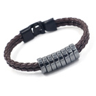 Obsidian Bead Fashion Jewelry Simple Obsidian Wear Bead PU Leather Braided Rope Bracelets Beaded Unisex Creative Special Gift