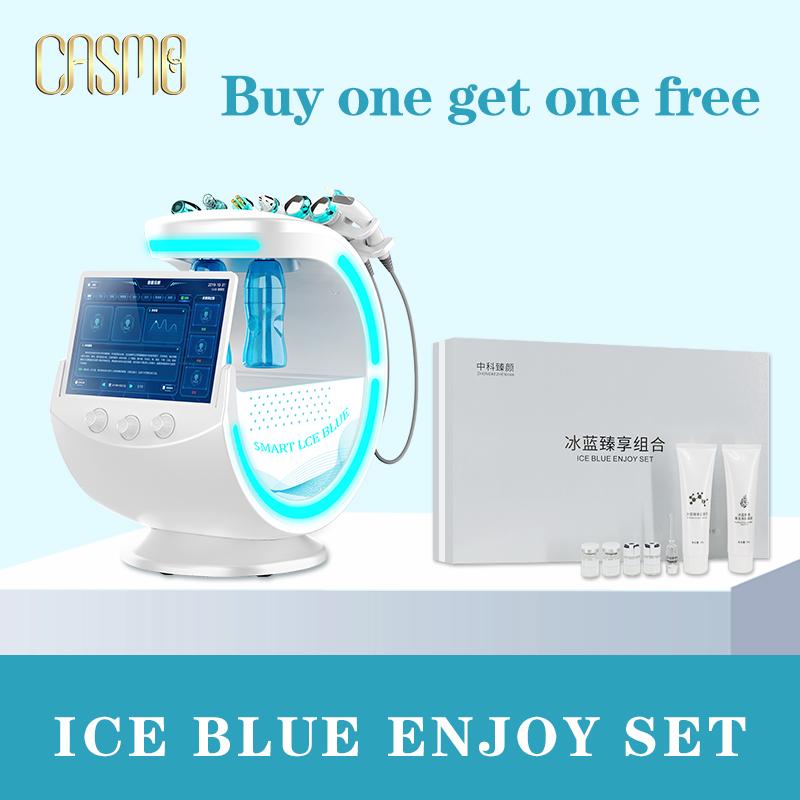 CASMB 2020 NEW Multifunction Intelligent Ice Blue Ultrasonic RF Aqua Skin Scrubber with skin Analysis Hydro Dermabrasion Machine