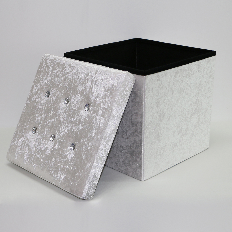 Pink modern fabric velvet ottomans storage box stool high quality homely supply ottoman saving space