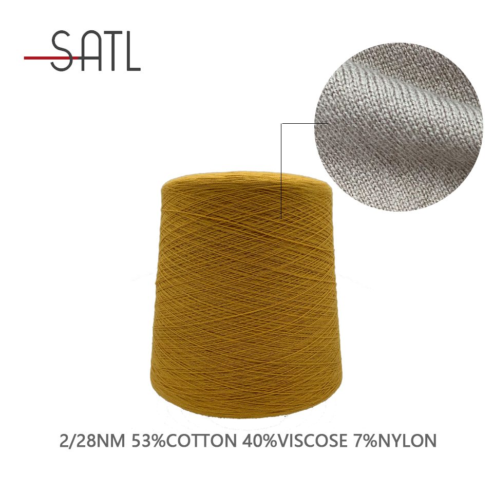 Factory Direct Supplying 53%Cotton 40%Viscose 7%Nylon Melange Yarn For Crocheting 2/28nm