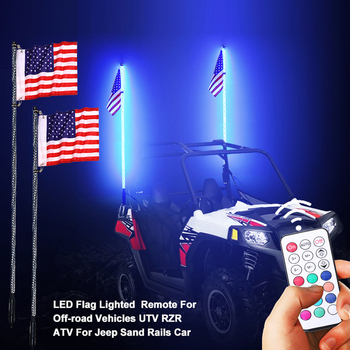 RGB Multi-color LED Flag pole Lamp Light Universal Mounts Spiral Light in Remote Control for OffRoad Vehicle SUV UTV RZR