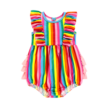 knitting baby romper Christmas clothes rainbow ruffle baby romper summer sleeveless body romper