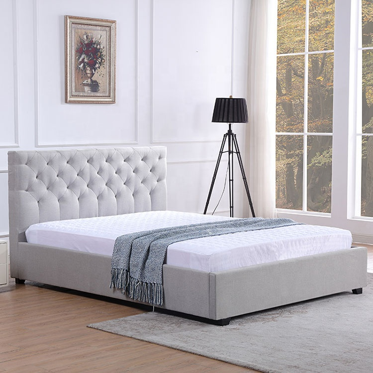 Simple and unique rice white fabric bedroom bed