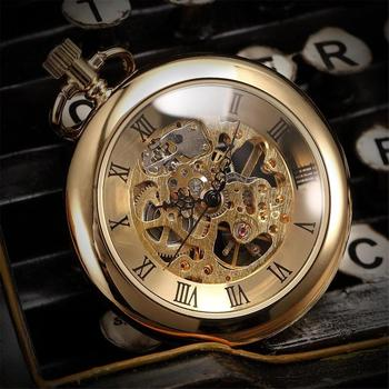 Open Face Retro Antique Heavy Brass Pocket watch Pendant Steampunk Skeleton Watch Pocket Hand-winding Mechanical Pocket Watches
