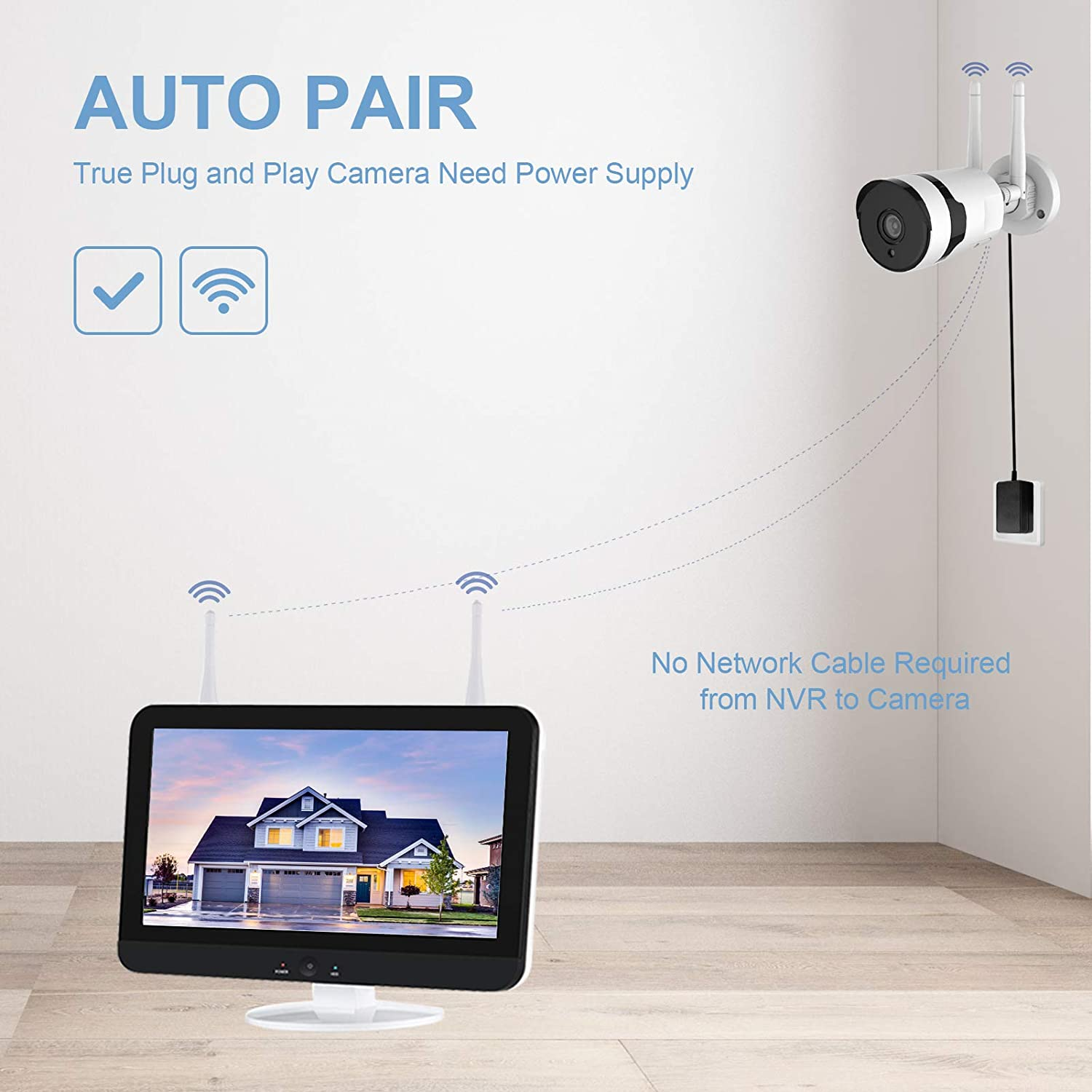 8CH CCTV Waterproof LCD Screen home security Wireless IP Camera Wifi Nvr system