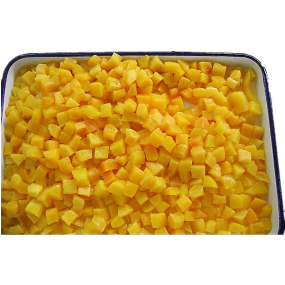 Консервированные персиковые половинки нарезанные кубики