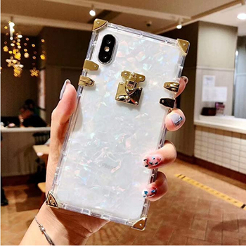 Special Luxury Clear Shell Crystal Square Metallic Corner Fashion Shockproof Soft Case for iPhone X
