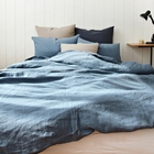 Wholesale Optional Many Blue Color Vintage Washed 100Flax Linen Duvet Cover Pillow Case And Bed Cover Sheet Bedding Set