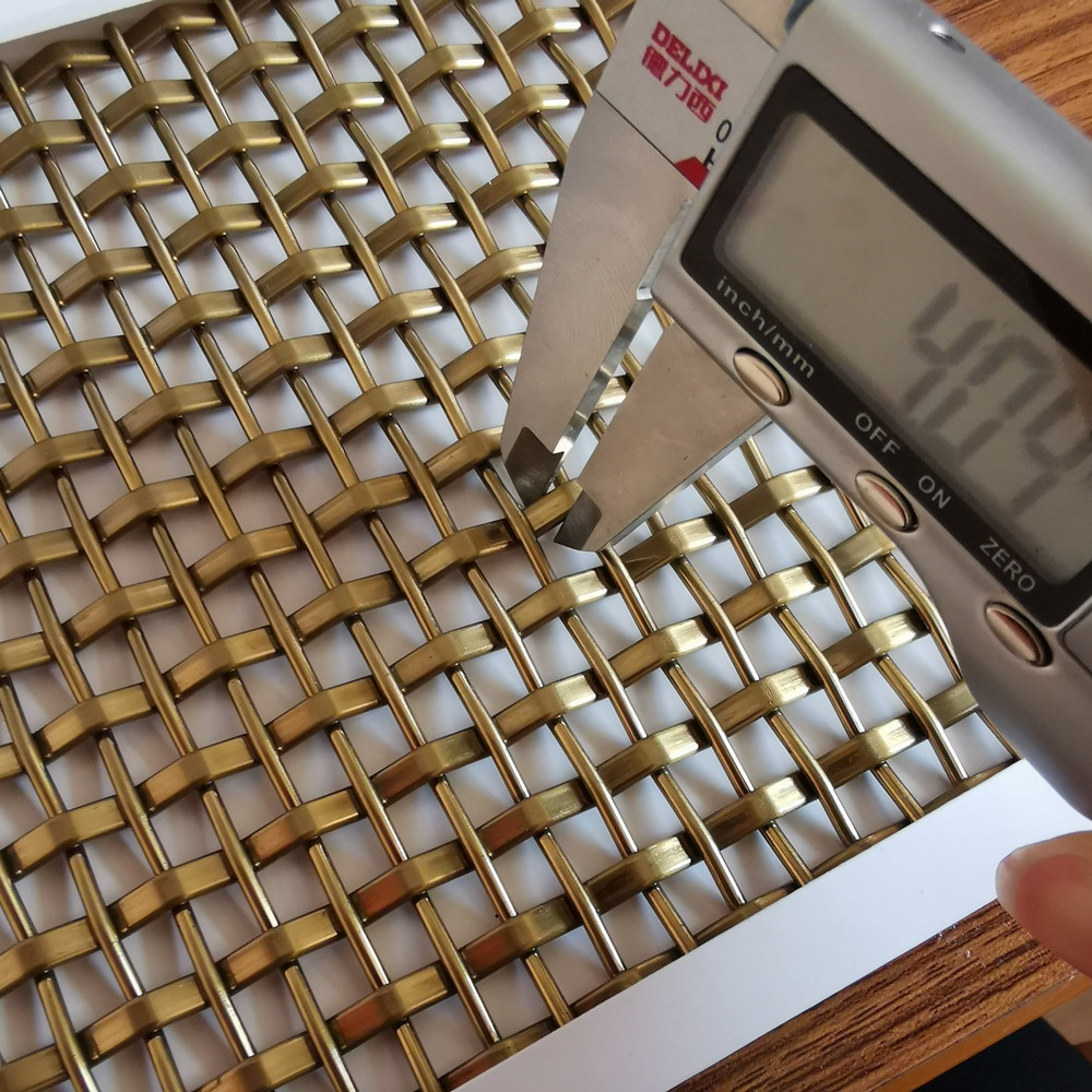Pattern Custom Weave wire Mesh Champagne Color Decorative Grilles For Building Facade