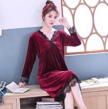 Женское бархатное длинное платье Fdfklak, Повседневная теплая ночная рубашка золотистого цвета с v-образным вырезом и длинным рукавом, свободн...(Китай)